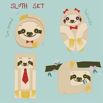 Conjunto de desenhos animados de preguiças feliz