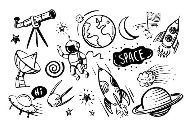Conjunto de desenhos animados de rabiscos de mão desenhada de espaço em fundo preto.