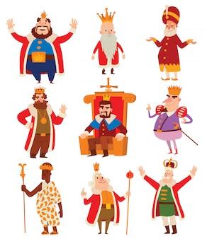 Conjunto de desenhos animados de reis.