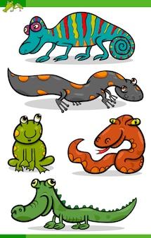 Conjunto de desenhos animados de répteis e anfíbios