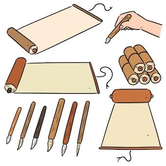 Conjunto de desenhos animados de rolagem e pincel