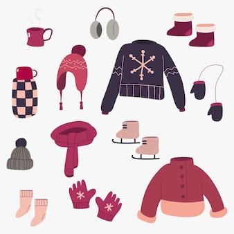 Conjunto de desenhos animados de roupas de inverno