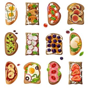 Conjunto de desenhos animados de sanduíches