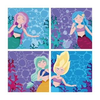 Conjunto de desenhos animados de sereias