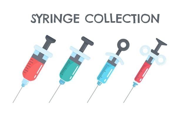 Conjunto de desenhos animados de seringas contendo vacinas contra vírus.