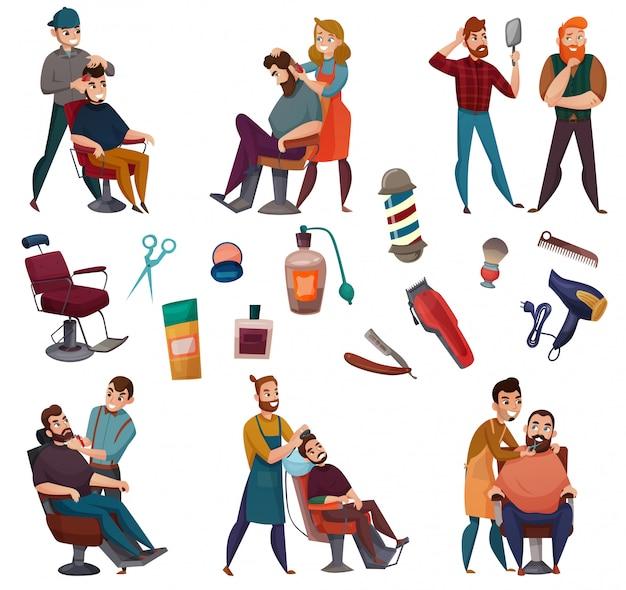 Conjunto de desenhos animados de serviços de barbeiro