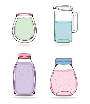 Conjunto de desenhos animados de sucos de desintoxicação