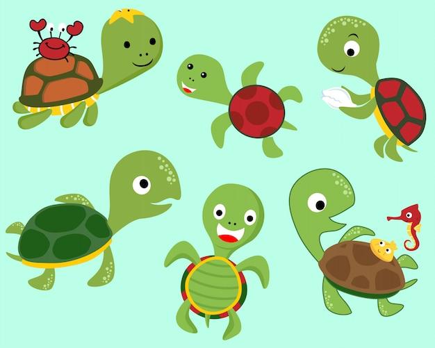 Conjunto de desenhos animados de tartaruga com amiguinhos