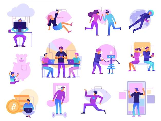 Conjunto de desenhos animados de tecnologias modernas com cores vibrantes e realidade virtual, namoro, viagens espaciais, bitcoins, mineração, robôs, ilustração