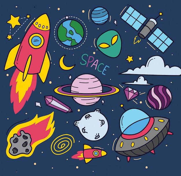 Conjunto de desenhos animados de tema espaço doodles
