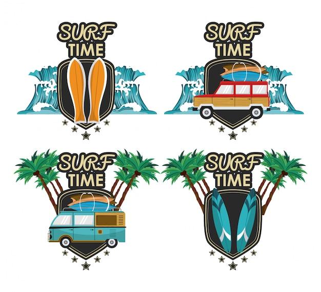 Conjunto de desenhos animados de tempo de surf