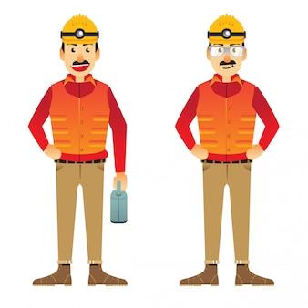Conjunto de desenhos animados de trabalho de construção