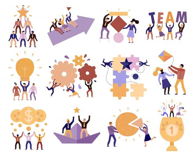 Conjunto de desenhos animados de trabalho em equipe
