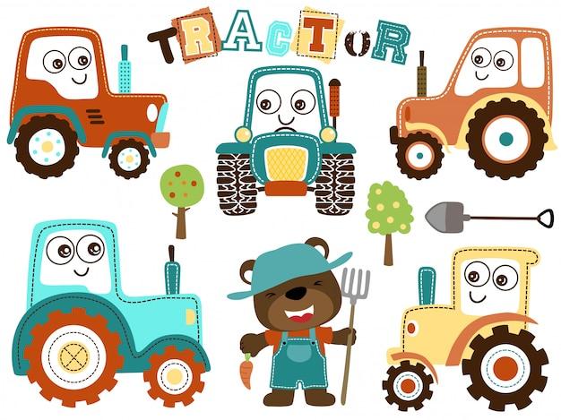 Conjunto de desenhos animados de trator com agricultor engraçado