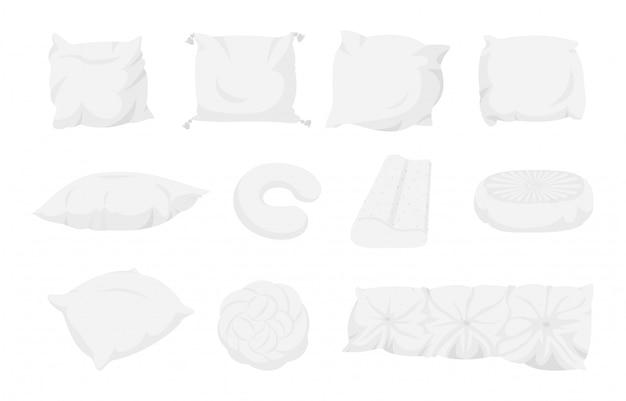 Conjunto de desenhos animados de travesseiro branco. almofada têxtil interior para casa. objetos isolados, tecido ecológico de bambu