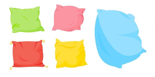Conjunto de desenhos animados de travesseiro colorido. têxtil interior para casa. cinco almofadas de cores suaves