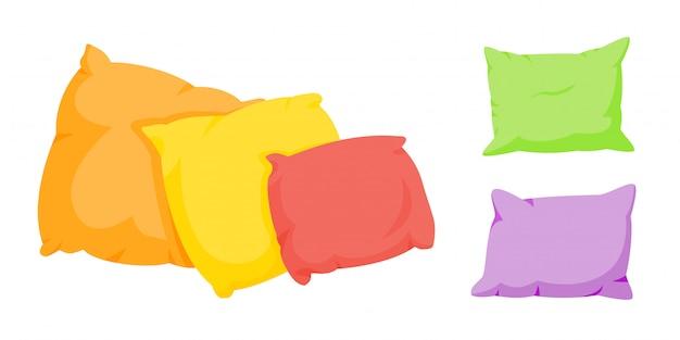 Conjunto de desenhos animados de travesseiro colorido. têxtil interior para casa. modelo de cinco almofadas quadradas de cor suave