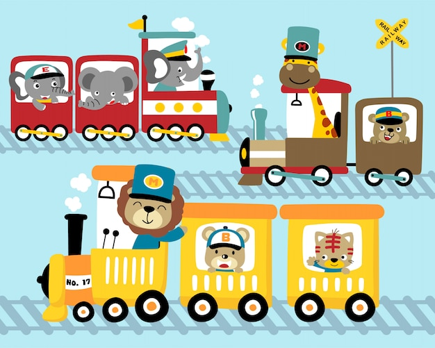 Conjunto de desenhos animados de trem com animais engraçados