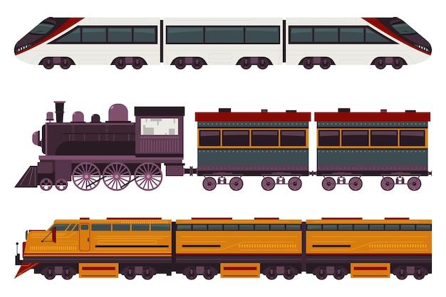 Conjunto de desenhos animados de trens isolado em um fundo branco.