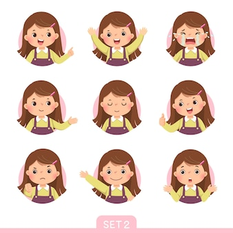 Conjunto de desenhos animados de uma menina em diferentes posturas com várias emoções. conjunto 2 de 3.