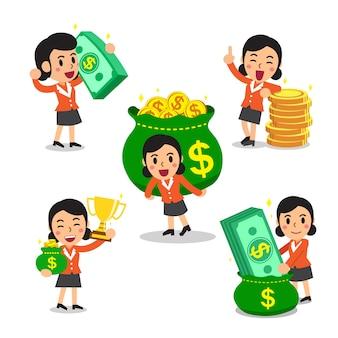 Conjunto de desenhos animados de uma mulher de negócios com dinheiro