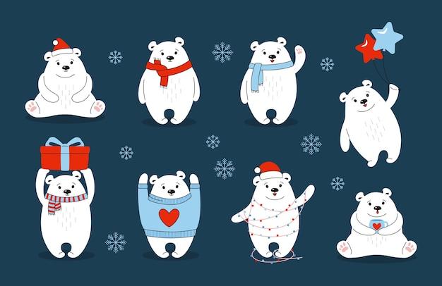 Conjunto de desenhos animados de urso polar de natal