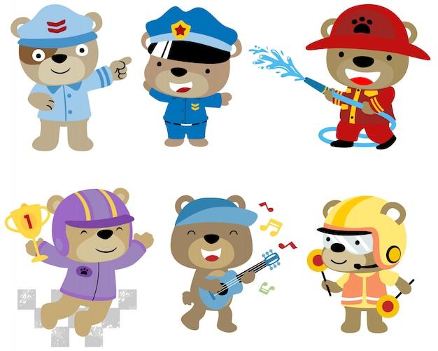 Conjunto de desenhos animados de urso