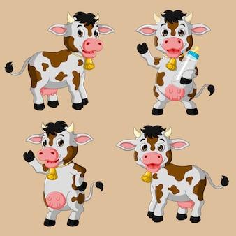 Conjunto de desenhos animados de vaca bonito coleção