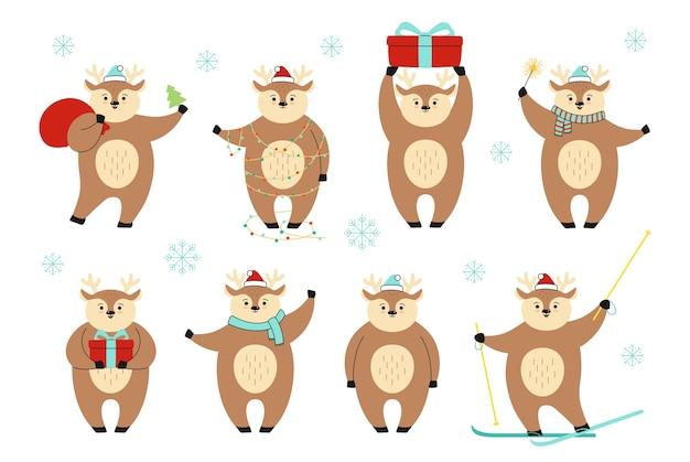 Conjunto de desenhos animados de veado de natal em diferentes poses