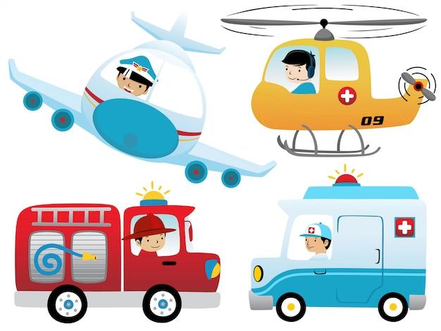 Conjunto de desenhos animados de veículos de resgate