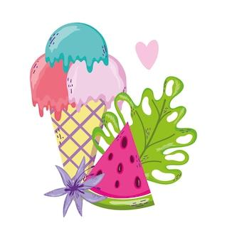 Conjunto de desenhos animados de verão