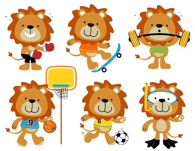 Conjunto de desenhos animados de vetor de atividade esportiva de leões engraçado
