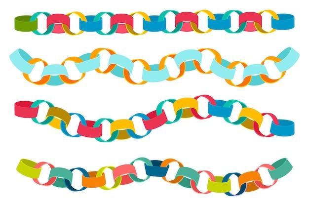 Conjunto de desenhos animados de vetor de correntes coloridas de papel isolado no fundo branco.