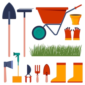 Conjunto de desenhos animados de vetor de ferramentas de jardim isolado.