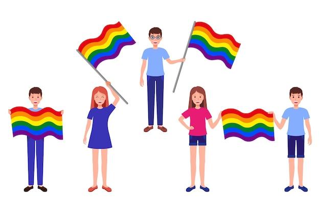 Conjunto de desenhos animados de vetor de ilustrações com pessoas segurando bandeiras do arco-íris da comunidade lgbt. conceito de parada do orgulho