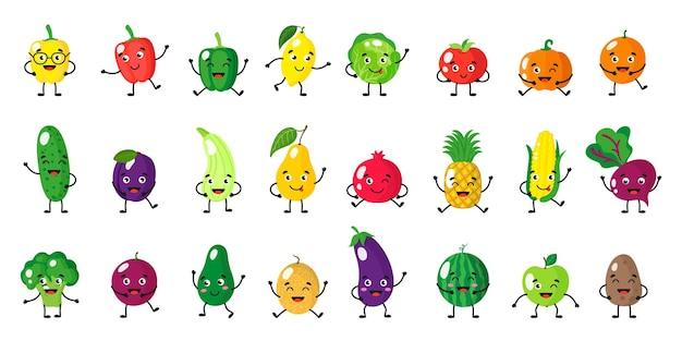 Conjunto de desenhos animados de vetor de personagens de frutas e vegetais com diferentes poses e emoções isoladas no fundo branco