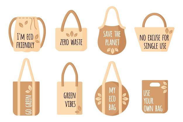 Conjunto de desenhos animados de vetor de sacolas de compras reutilizáveis de têxteis vazias com citações ecológicas para alimentos saudáveis, isolado no fundo branco