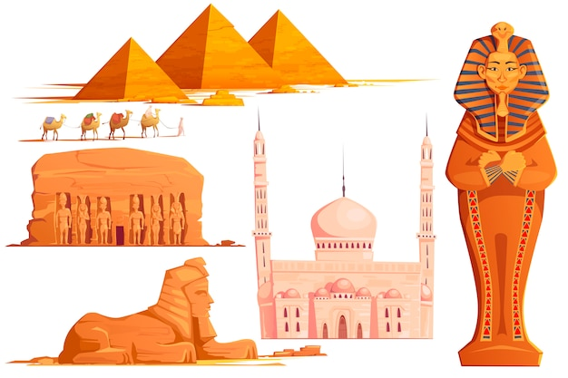 Conjunto de desenhos animados de vetor do egito antigo