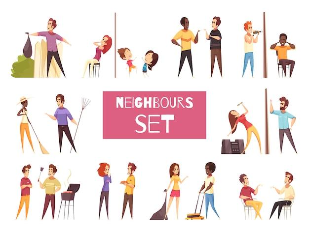 Conjunto de desenhos animados de vizinhos