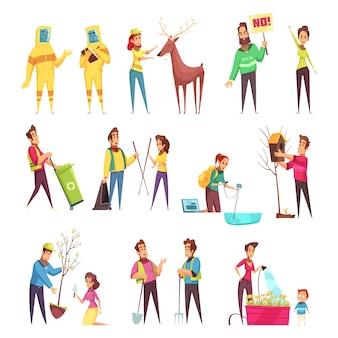 Conjunto de desenhos animados de voluntariado ecológico