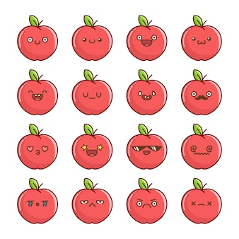 Conjunto de desenhos animados divertidos com maçã vermelha kawaii