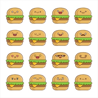 Conjunto de desenhos animados divertidos de hambúrguer de queijo kawaii