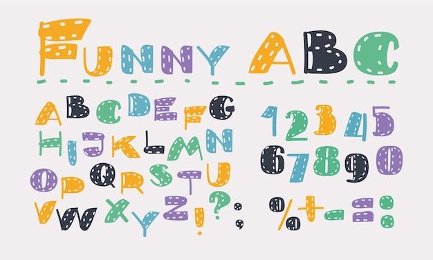 Conjunto de desenhos animados do alfabeto latino. símbolo colorido em branco.