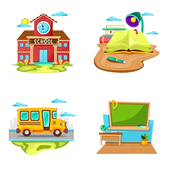 Conjunto de desenhos animados do ambiente escolar