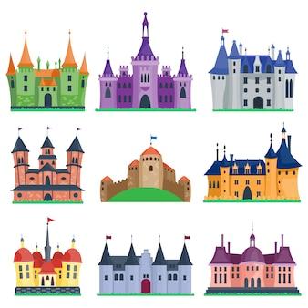 Conjunto de desenhos animados do castelo.