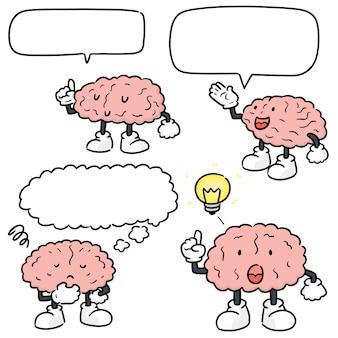 Conjunto de desenhos animados do cérebro