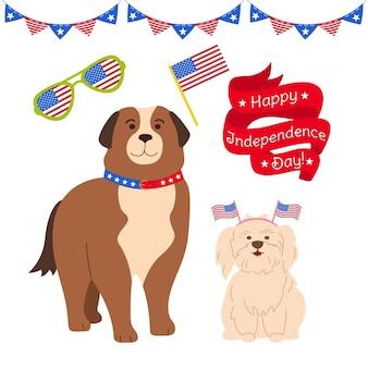 Conjunto de desenhos animados do dia da independência americana, cães patrióticos bandeira balão fita guirlanda bandeira bandeira dos eua