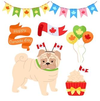 Conjunto de desenhos animados do dia do canadá, balão de pug patriótico de estimação, bandeira de guirlanda, fita, queque