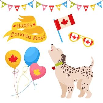 Conjunto de desenhos animados do dia do canadá, bandeira da dálmata canadense de estimação patriótica, balão, óculos, bandeira de guirlanda