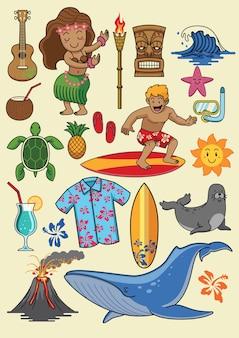 Conjunto de desenhos animados do havaí